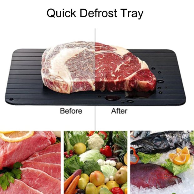 Firlar Fast Defrosting Tray Frozen Food, Aluminium Defrost Trays Thawing Plate Board Thaws Meat 9x Faster No Electricity, NO Microwave, NO Hot Water 2