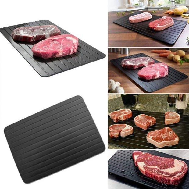 Firlar Fast Defrosting Tray Frozen Food, Aluminium Defrost Trays Thawing Plate Board Thaws Meat 9x Faster No Electricity, NO Microwave, NO Hot Water 3