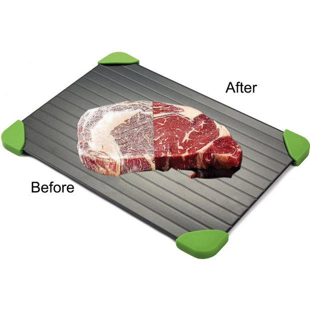 Firlar Fast Defrosting Tray Frozen Food, Aluminium Defrost Trays Thawing Plate Board Thaws Meat 9x Faster No Electricity, NO Microwave, NO Hot Water