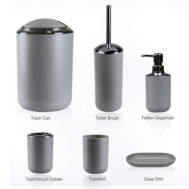 IMAVO Bathroom Accessories Set,6 Pcs Plastic Gift Set Toothbrush Holder,Toothbrush Cup,Soap Dispenser,Soap Dish,Toilet Brush Holder,Trash Can,Tumbler Straw Set Bathroom (Grey) 3