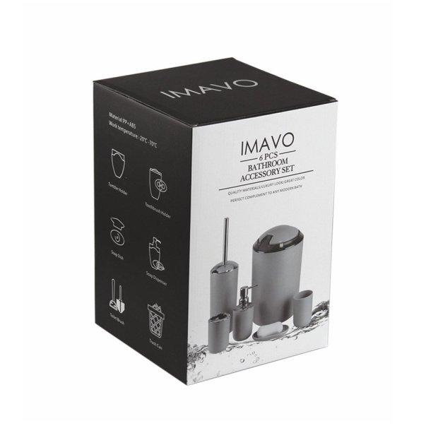 IMAVO Bathroom Accessories Set,6 Pcs Plastic Gift Set Toothbrush Holder,Toothbrush Cup,Soap Dispenser,Soap Dish,Toilet Brush Holder,Trash Can,Tumbler Straw Set Bathroom (Grey) 4