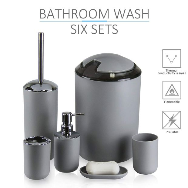 IMAVO Bathroom Accessories Set,6 Pcs Plastic Gift Set Toothbrush Holder,Toothbrush Cup,Soap Dispenser,Soap Dish,Toilet Brush Holder,Trash Can,Tumbler Straw Set Bathroom (Grey) 5