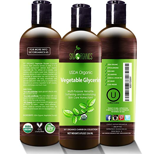 Organic Vegetable Glycerin by Sky Organics - Non-GMO, Kosher, USP Grade, Hypoallergenic, Cold-pressed - Benefits Hair & Skin - Excellent Emollient- Ideal Soap Base Moisteurizer
