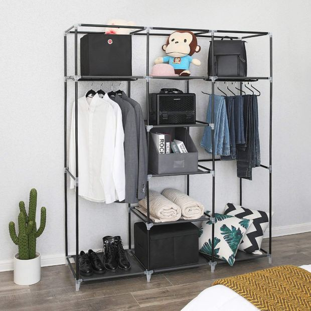 Portable Clothes Closet Non-Woven Fabric Wardrobe Double Rod Storage Organizer Black 2