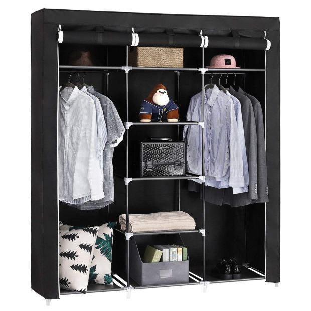 Portable Clothes Closet Non-Woven Fabric Wardrobe Double Rod Storage Organizer Black 3