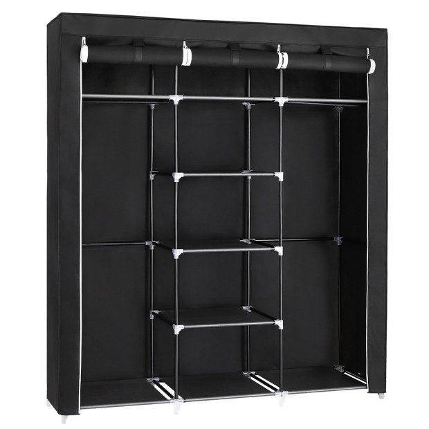 Portable Clothes Closet Non-Woven Fabric Wardrobe Double Rod Storage Organizer Black 4