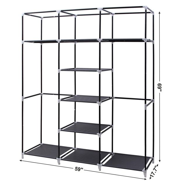 Portable Clothes Closet Non-Woven Fabric Wardrobe Double Rod Storage Organizer Black 6