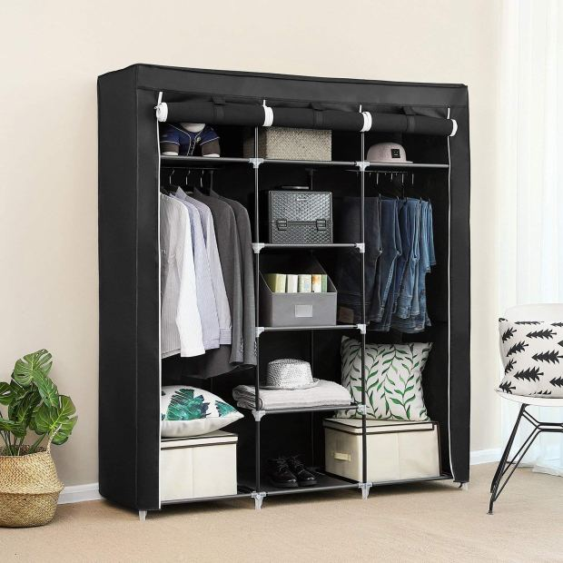 Portable Clothes Closet Non-Woven Fabric Wardrobe Double Rod Storage Organizer Black