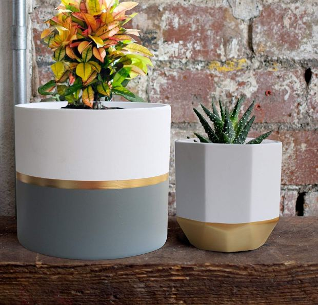 White Ceramic Flower Pot Garden Planters 6.5 Pack 2 Indoor, Plant Containers with Gold and Grey Detailing 3