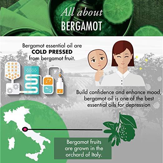 Bergamot Essential Oil - 100% Pure Therapeutic Grade for Hair, Skin, Beard Growth, Diffuser 2