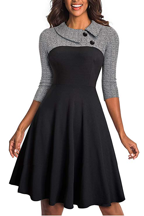 HOMEYEE Women's Lapel 3:4 Sleeve Church Aline Colorblock Work Dress A121