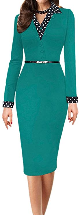 LunaJany Women's Polka Dot Long Short Sleeve Wear to Work Office Pencil Dress 2