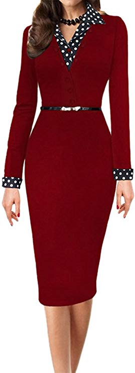LunaJany Women's Polka Dot Long Short Sleeve Wear to Work Office Pencil Dress