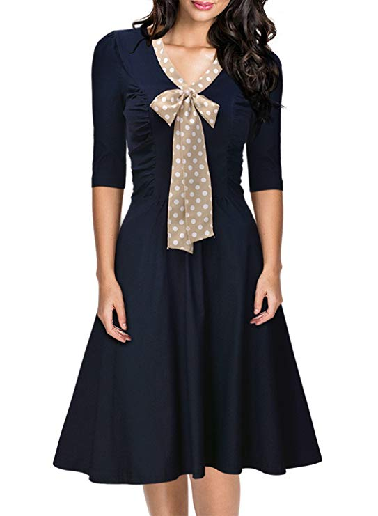 Miusol Women's Vintage 3:4 Sleeve Navy Style Belted Retro Evening Dress