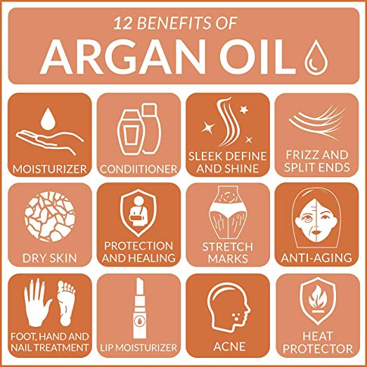 Naturals Organic Argan Oil for Hair, Face & Skin 4 oz - 100% Pure Grade A Triple Extra Virgin Cold Pressed From The kernels of the Moroccan Argan Tree - The Anti Aging, Anti Wrinkle Beauty Secret 4
