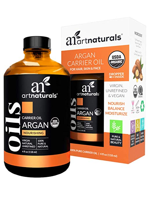 Naturals Organic Argan Oil for Hair, Face & Skin 4 oz - 100% Pure Grade A Triple Extra Virgin Cold Pressed From The kernels of the Moroccan Argan Tree - The Anti Aging, Anti Wrinkle Beauty Secret