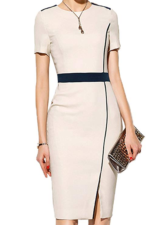 WOOSUNZE Women's Short Sleeve Colorblock Slim Bodycon Business Pencil Dress 2